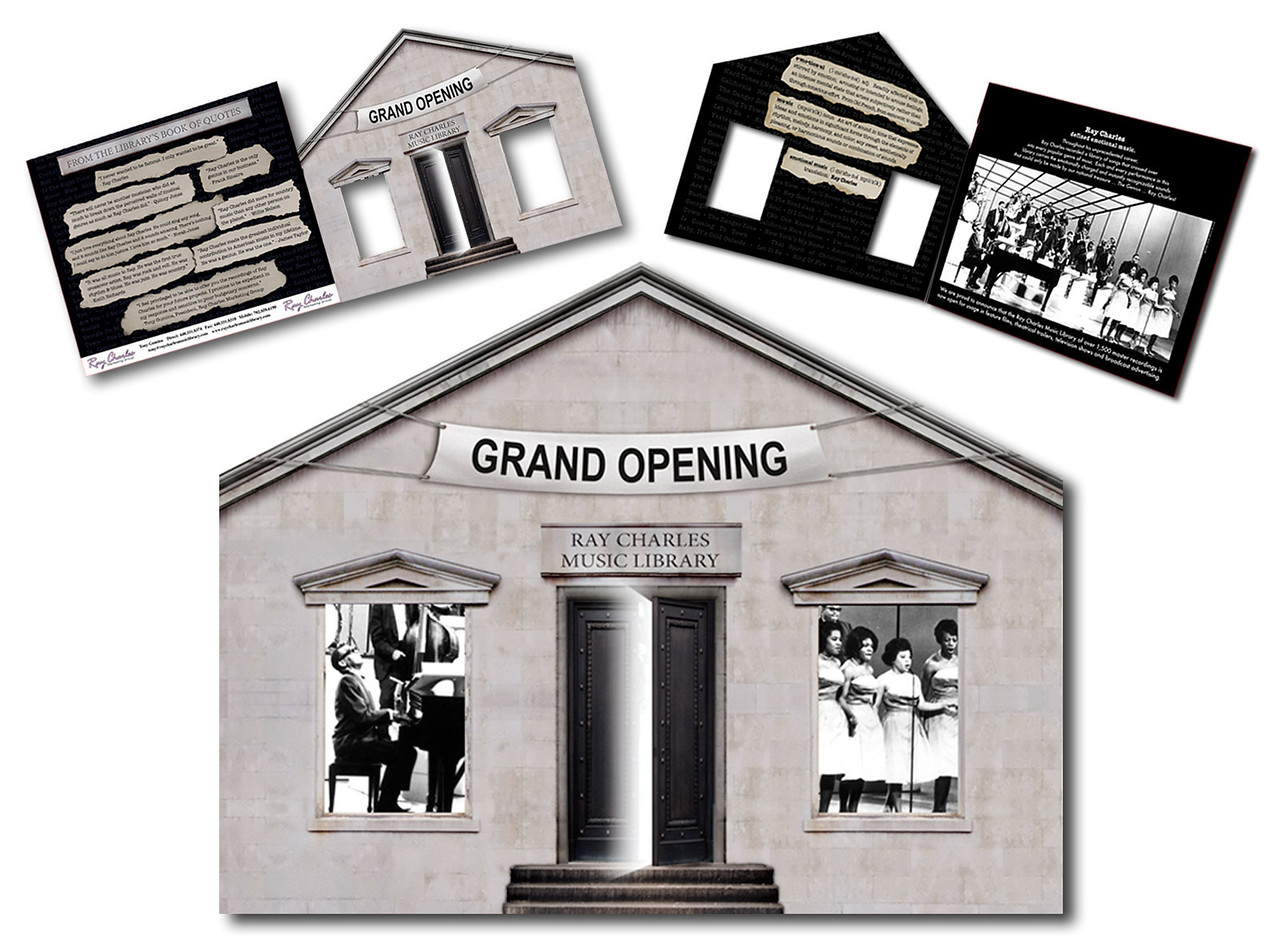 Brochure for Ray Charles Music Library grand opening