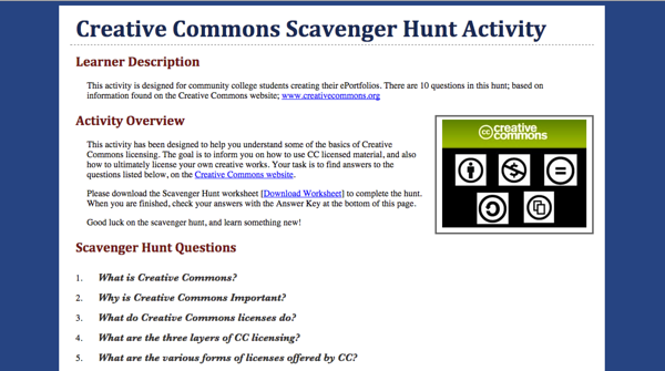 Creative Commons - Scavenger Hunt