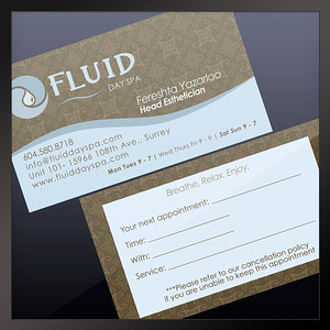Business Card Fluid Day Spa Surrey, BC