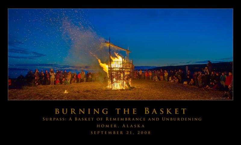 """Each year the week before the fall equinox, a band of artists on the Homer Spit face the challenges of weather and create a huge, finely crafted basket. And then they burn it.""  Quote from Michael Armstrong's article in the Homer News   more here:<br /> <br /> <a href=""http://homernews.com/stories/092408/arts_16_001.shtml"">http://homernews.com/stories/092408/arts_16_001.shtml</a>"