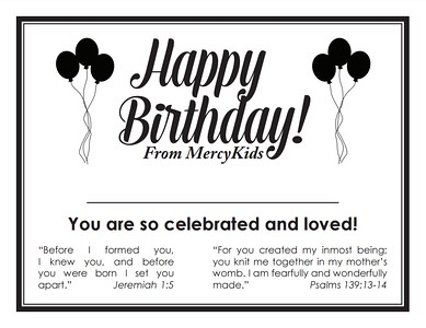 MercyKids Birthday Certificate