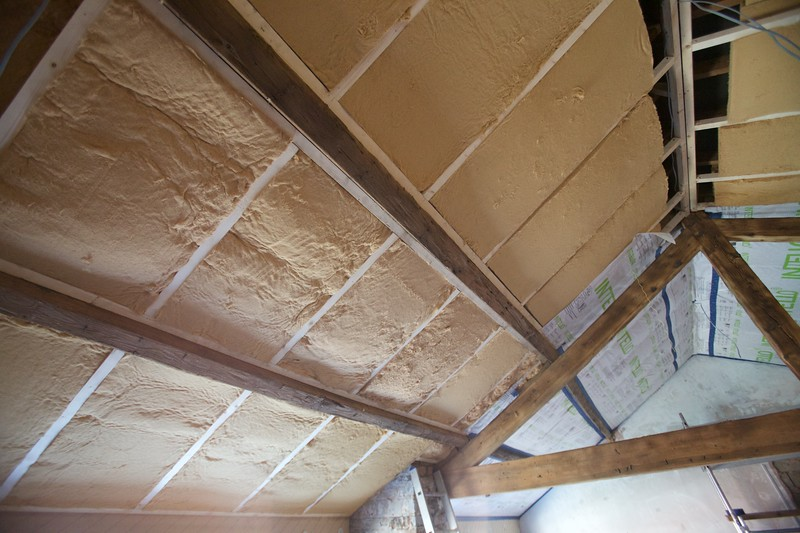 the double insulated ceiling exposing the previously hidden original wood
