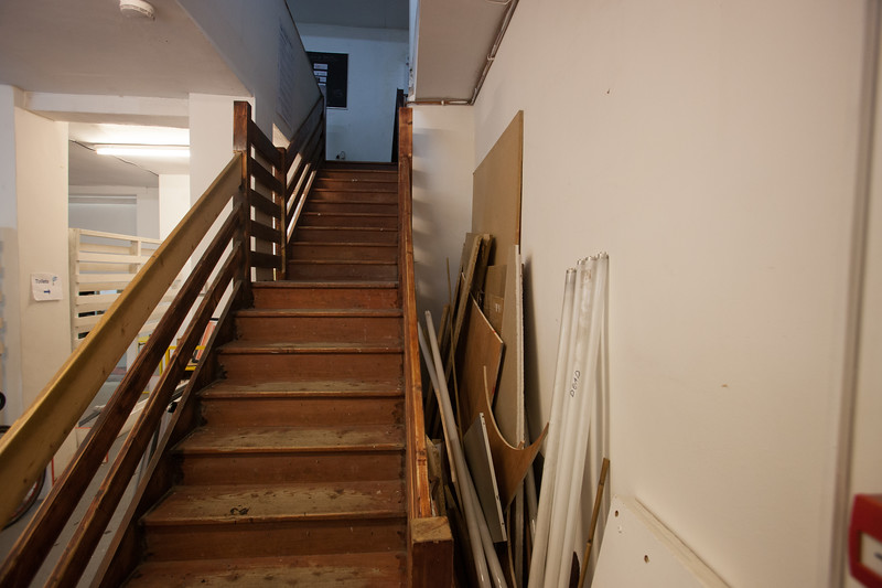wooden unenclosed stairs