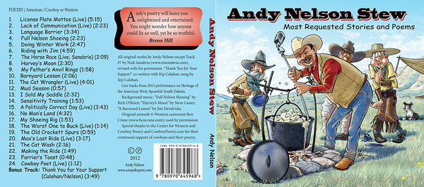 "June 2012 Andy Nelson Design of 4-panel digipack plus disc ""Andy Nelson Stew: Most Requested Stories and Poems"""
