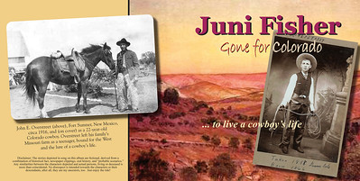 "October 2013 Juni Fisher Exterior:  16-Page Folder Inserted in Digipack    ""Gone for Colorado""  WINNER OF THE 2009 Wrangler for Outstanding Traditional Western Album as presented by the National Cowboy & Western Heritage Museum, Oklahoma City, Oklahoma       ""I've worked with graphic designers on album covers in the past. Some were great; some were just plain hard to work with, not that they might not have done OK had I turned them loose. But the last thing I want is a designer who tells me 'I don't need to hear the music, just send the photos, and I'll come up with something.' Now what kind of CD cover is THAT going to get you?        ""But with Jeri, she wanted to hear the demo of the album before she even started. And only then did she began sending ideas and suggestions my way. We discussed, we bantered. There was always an open dialog. In the end, the results were wonderful—everything I pictured in my mind, and more—since Jeri had some great ideas herself.        ""I cannot recommend her highly enough!""   -Juni Fisher, Red Geetar Records  2007 WMA Song of the Year Songwriter 2006 WMA Female Vocalist of the Year 2005 AWA Western Female Performer of the Year 2005 WMA Crescendo Award"