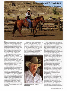 "COWBOY MAGAZINE Spring 2007  Cover Story & Photos ""In the Badlands of Montana"" Charles Ferguson, pages 3-5"