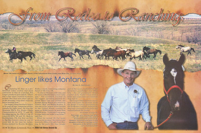 "TRI-STATE LIVESTOCK NEWS 2008 Fall Horse Roundup  Cover Story & Photo of Pat Linger ""Linger Likes Montana,"" pages 16-21"