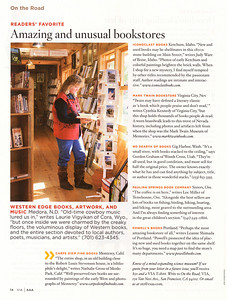 "VIA: AAA TRAVELER'S COMPANION Mountain West Edition November/December 2007  On the Road Photo ~Readers' Favorites ""Amazing and unusual bookstores"" Western Edge Books, Medora, N.D., page 14"