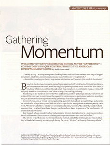 "AMERICAN COWBOY  August/September 2009  ""Gathering Momentum"" Feature & Photos Pages 64, 65, 66, 67, 68, 70, 71, 72, 73"