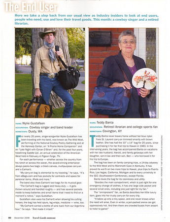 """TRAVEL GOODS SHOWCASE December 2008  """"The End User"""" Photo of Wylie Gustafson (left, with Carhartt workbag) Page 80"""