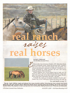 "TRI-STATE LIVESTOCK NEWS 2007 Fall Horse Roundup  Cover Story & Photos ""Real Ranch Raises Real Horses"" Makoshika Breaks Ranch, pages 16-21"