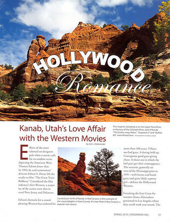 """PERSIMMON HILL Spring 2010  """"Hollywood Romance: Kanab, Utah's Love Affair with the Western Movies"""" Feature & Photos  Pages 51-54"""