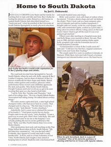 "COWBOY MAGAZINE Summer 2006  Cover Story & Photo ""Home to South Dakota"" Jack Gully & K Bar J Leather, pages 4-6"
