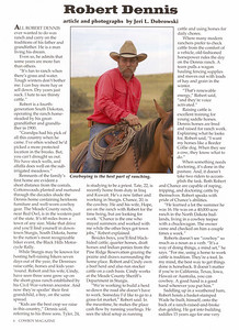 "COWBOY MAGAZINE Winter 2006  Cover Story & Photos ""Robert Dennis,"" pages 6-8"