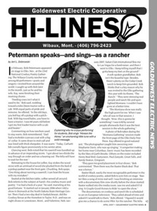 "RURAL MONTANA MAGAZINE  ~ and ~ NORTH DAKOTA LIVING April 2007  ""Petermann speaks - and sings - as a rancher"" (page 1 of 3)  2006-2007 Montana Electric Cooperatives' Association Second Place Best Feature Story"