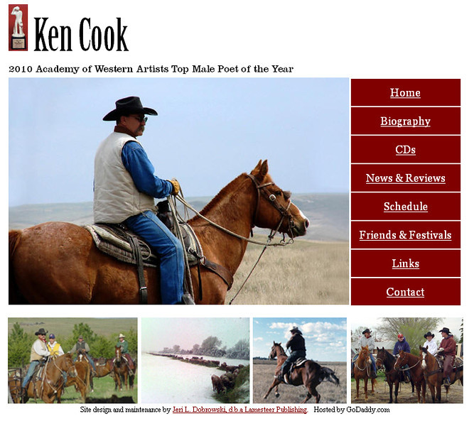 "May 2011 - Present<br /> Ken Cook<br /> Martin, South Dakota<br /> <br /> <a href=""http://www.kencookcowboypoet.com"">http://www.kencookcowboypoet.com</a><br /> <br /> Developed and maintain website using Microsoft Office Frontpage."