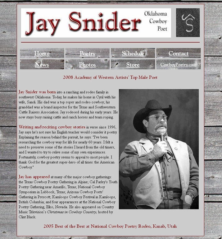 "November 2010 - Present<br /> Jay Snider<br /> Cyril, Oklahoma <br /> <br /> <a href=""http://www.jaysnider.net"">http://www.jaysnider.net</a><br /> <br /> Developed and maintain website using Microsoft Office Frontpage."
