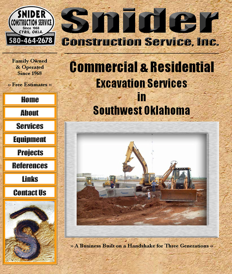 "July 2011 - Present<br /> Snider Construction Service, Inc.<br /> Cyril, Oklahoma<br /> <br /> <a href=""http://sniderconstruction.net"">http://sniderconstruction.net</a><br /> <br /> Developed and maintain website using Microsoft Office Frontpage."