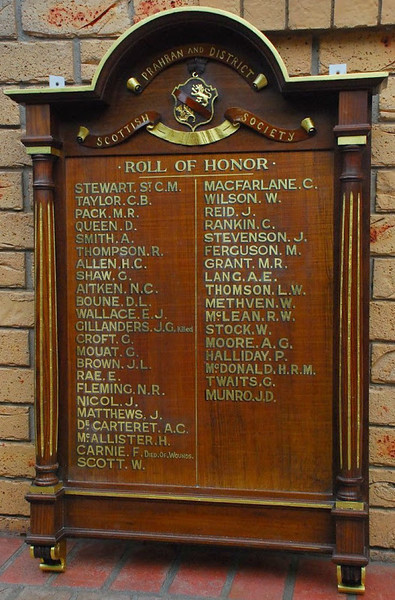 Prahran & District Scottish Society Roll Of Honour. Gold Leaf Lettering on Honour Board.