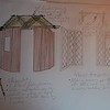 Double sided folding screens  (very light) used to create village hut and colonial bungalow/ garden.