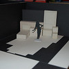 """Cut down version for Tara Arts: SR """"doorway"""" is a gap in the curtain to their backstage area; wall cut down to just 2 panels, the lower would have the TV on it; 2 out of 4 of the flooring strips used; bed, desk, toybox, cupboard and desk blocks still used. (Would have to lose SL exit unless you want to use the fire exit!)"""