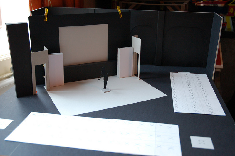 Screen set at an angle; possible maximum size of screen 4mx3m. Audience seating on 2 sides.