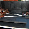 Re-worked model showing trough extending the full way across the space and under the audience block (complete with furniture), viewed from one side.