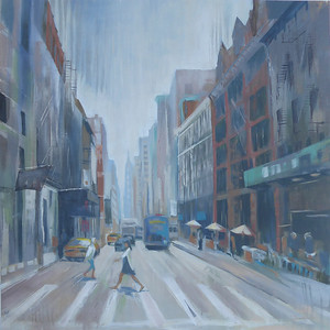 """City View, 40""""x40"""" painting on canvas"""