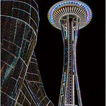 "Print title:  ""  EMP & THE SPACE NEEDLE  ""  /  © Gj"