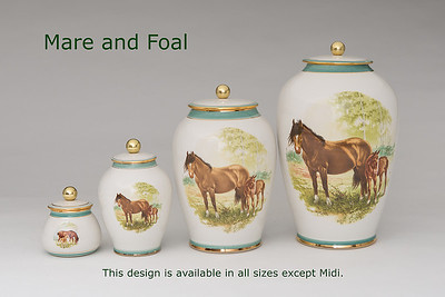 Mare & Foal.........Available in Miniature,  Small,   Medium,   3 Litre,  Large,  Double & Memento Jar.