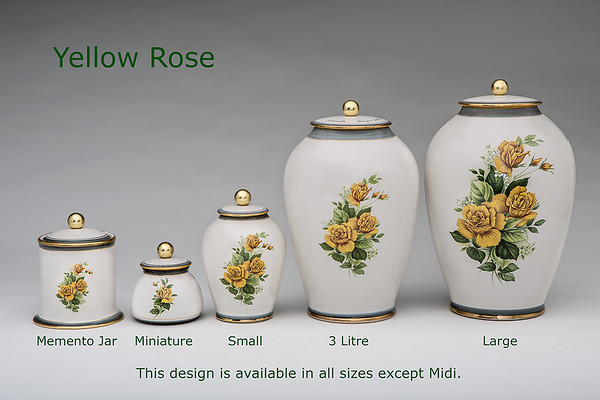 Yellow Rose.........Available in Miniature,  Small,  Midi,  Medium,   3 Litre,  Large,  Double & Memento Jar.
