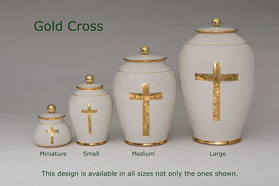 Gold Cross.........Available in Miniature,  Small,  Midi,  Medium,   3 Litre,  Large,  Double & Memento Jar.
