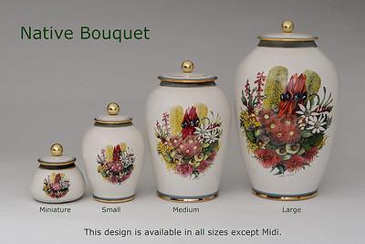 Native Bouquet..... .........Available in Miniature,  Small,  Medium,   3 Litre,  Large,  Double & Memento Jar.