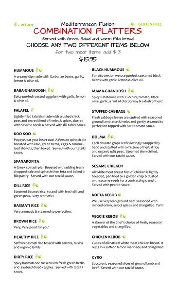 Fandango DINNER Menu