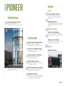 Table of Contents for The Pioneer Spring 2013 issue for Point Park University