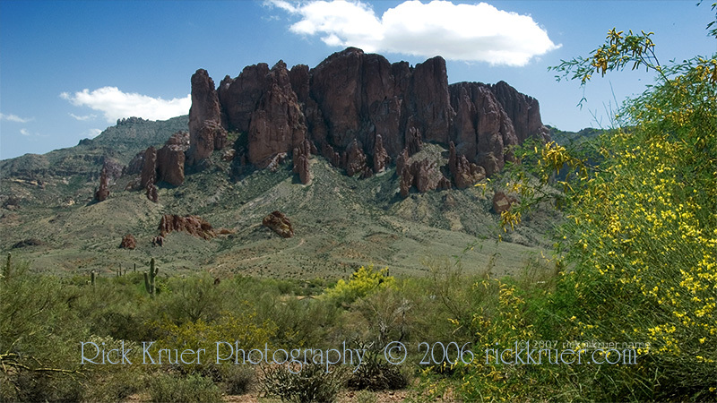 Copyright © 2007 Rick Kruer<br /> rickkruer.com<br /> <br /> Superstition Mountains east of Mesa, AZ in spring<br /> <br /> D200_2007-04-11DSC_0313-SuperstitionMtns-FlowersWide-4.psd