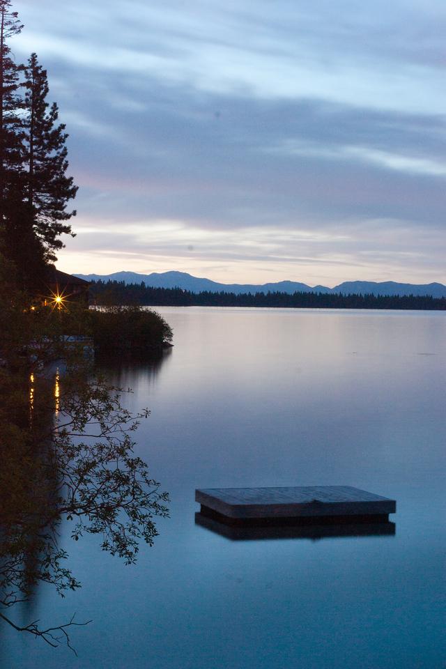 Twilight over the dock on Fallen Leaf Lake.