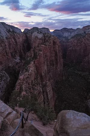 The famous chains after sunset on Angel's Landing trail. Zion National Park