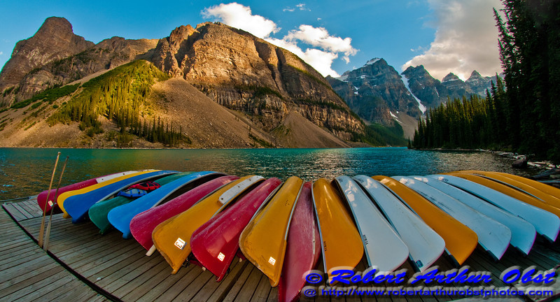 Cerulean Skies over Canoes and Turquoise Moraine Lake within Banff National Park (Canada AB LAKE LOUISE)