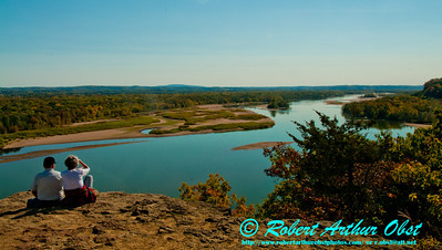 Hiker's view downriver past majestic oaks under clear blue skies from the Ferry Bluff Trail along the Lower Wisconsin State Riverway and State Natural Area (USA WI Sauk City; Obst FAV Photos 2012 Nikon D300s Image 3529)