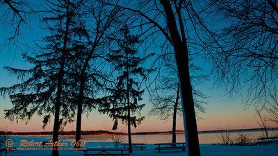 Cross country skier's New Year Day's view of a partially frozen Lake Mendota during a winter evening rosy sunset within Governor Nelson State Park (USA WI Middleton; Obst FAV Photos 2013 Destinations Wild Scenic Nikon D300s Image 4451)