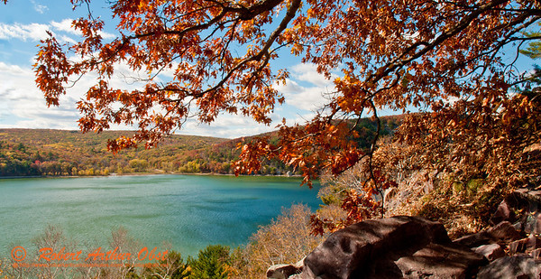 Autumn oaks and rugged shorelines frame Devils Lake along Ice Age National Scenic and Balanced Rock Trails within southeastern Devils Lake State Park (USA WI Baraboo; Obst FAV Photos 2012 Nikon D300s Landscapes Inspirational Image 4245)