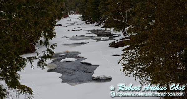 Back country skier's and snowshoer's view during winter of the canyon immediately downstream of Rainbow Falls on the National Wild and Scenic Black River within the Black River Recreation Area of the Ottawa National Forest (USA MI Bessemer; Obst FAV Photos 2013 Nikon D800 Destinations Wild Scenic River Valley Image 8126)
