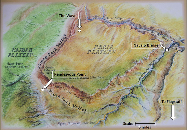 Map of Paria Plateau and points of interest.