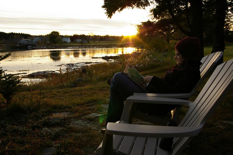 Sara lounging outside Ann's Point Inn