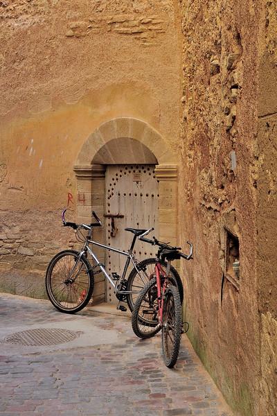 Bikes in a side street in Essaouria, Morocco