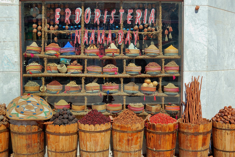 "Brilliantly colored spices can be found everywhere in Egypt; this shop was in Sharm el-Sheikh, on the Red Sea. <br /> <br /> For more on the charm of Sharm see <a href=""http://explorationvacation.net/2007/02/12/the-charm-of-sharm/"">http://explorationvacation.net/2007/02/12/the-charm-of-sharm/</a>"