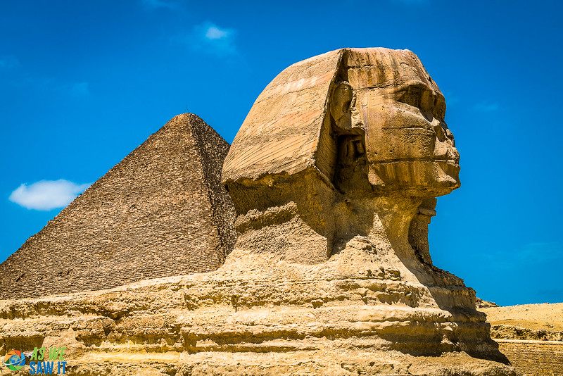 The Sphinx and a Pyramid in Goza