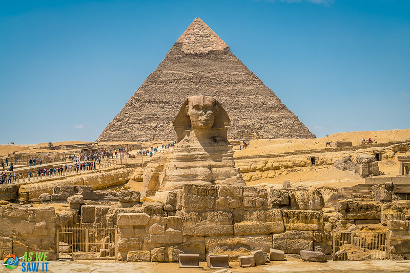 The Sphinx and pyramid in Giza, Egypt. Virtual tour is available.