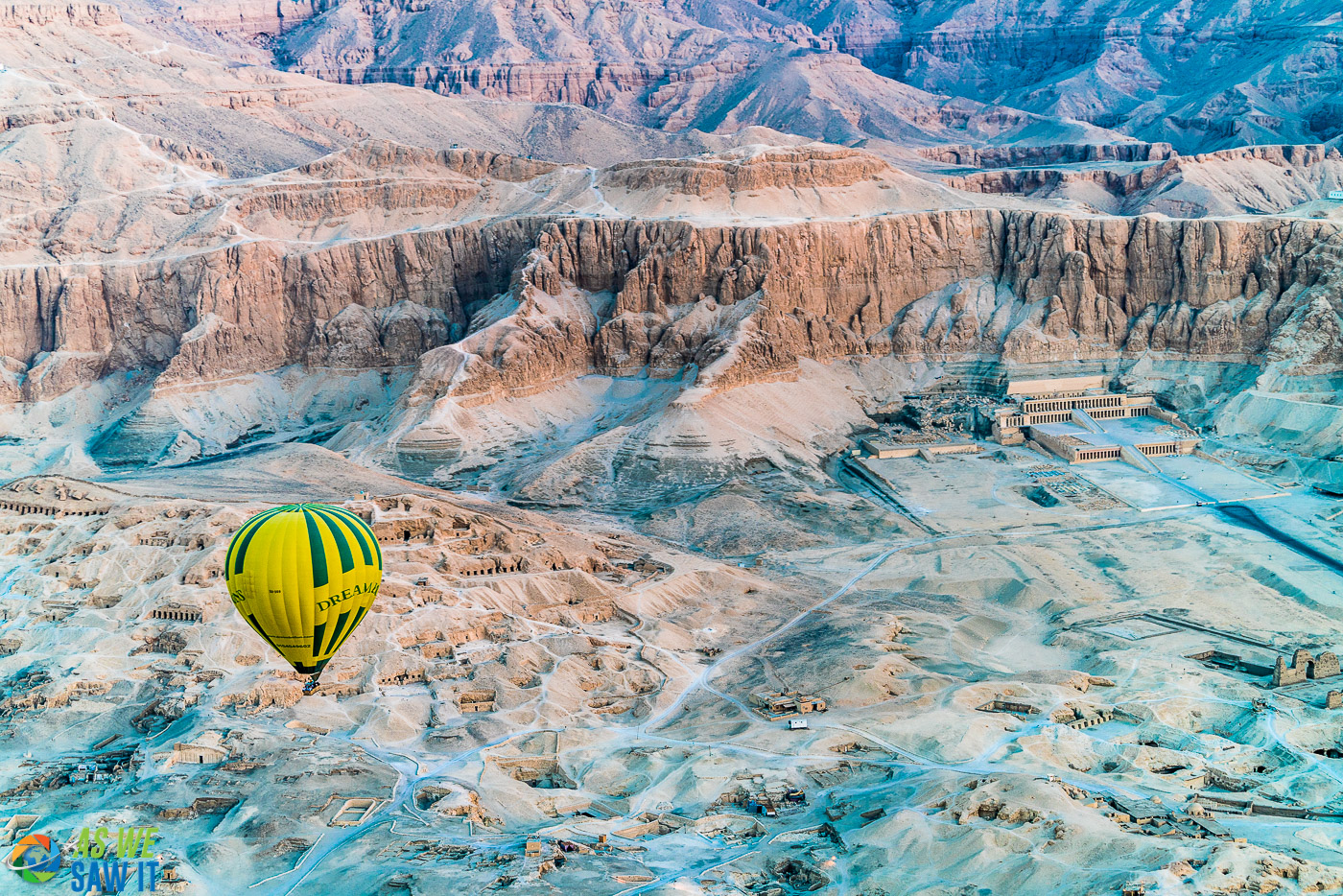 Sunrise balloon ride over Valley of the Kings and Hatshepsut Temple.